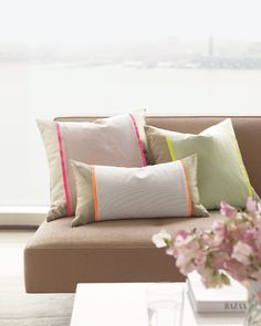 Seersucker Pillow Sleeve with a hint of neon - Martha Stewart Sewing Projects