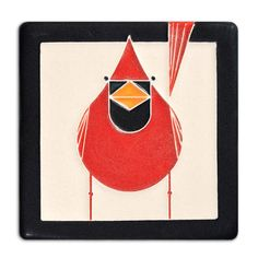 """""""You're not likely to find anything else as red as. And you'll never find anything redder than."""" - Charley Harper Mid-century modern meets Motawi mastery in this tile based on the work of celebrated w"""