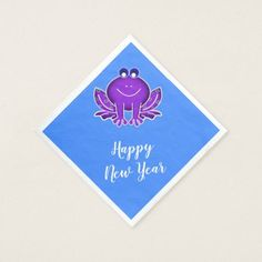 cute purple frog-  Happy New Year Paper Napkin - animal gift ideas animals and pets diy customize