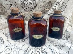 3 Brown Bottle Spice Jars  Vintage by Quilted Nest by QuiltedNest