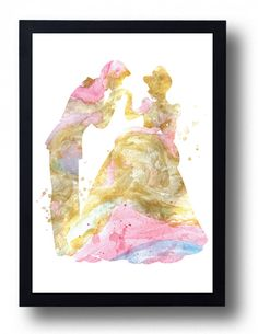 Cinderella and Prince Gold Watercolor Art Print by BogiArtPrint