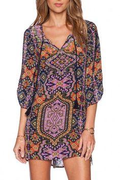 fe0f30b981 Shop Multicolor V Neck Watercolor Floral Loose Dress online. SheIn offers  Multicolor V Neck Watercolor Floral Loose Dress   more to fit your  fashionable ...
