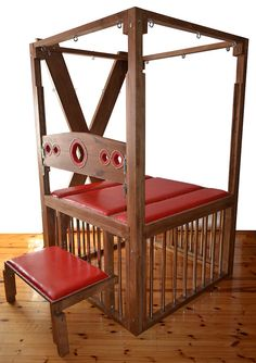 Exclusive solid piece of furniture to play erotic game of Bondage. 5 in 1 (table, cage, stocks, cross and bench) Stocks have 8 height adjustment (can be also put on the bench here) Bench also has height adjustment. Dimensions: width and length of 50 x50 inches, height 82 inches