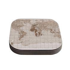 Kess InHouse Catherine Holcombe 'Emerald World' Vintage Map Coasters (Set of 4) (Emerald World), Brown (Wood)