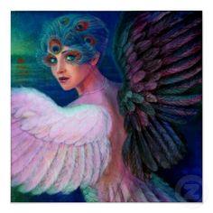 Madame Art Dark Angel de plume de paon