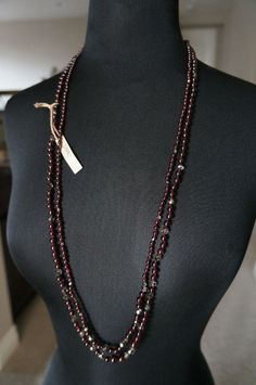 NEW Chan Luu Red Garnet SEMI PRECIOUS STONE Crystal 2 STRND Long Short Necklace   | eBay