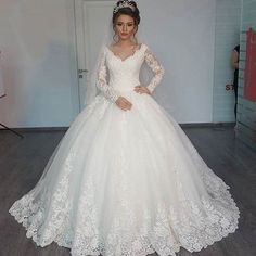 Full Long Sleeve Lace White Muslim Wedding dresses Plus Size Arabic Women Wedding Gown