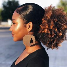 Fro-Tastic Afro earrings I Natural hair earrings Texturizer On Natural Hair, Natural Hair Tips, Natural Curls, Natural Black Hairstyles, Relaxed Hairstyles, Natural Hair Puff, Styling Natural Hair, Natural Hair Ponytail, Curly Ponytail
