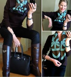 Hermès Birkin, Jumping boots and 'Circuit 24 Faubourg' scarf