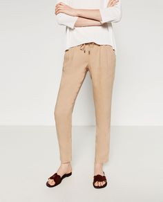 LINEN TROUSERS-View All-TROUSERS-WOMAN | ZARA United Arab Emirates
