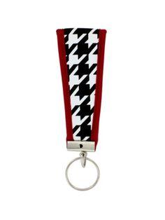 Houndstooth with Crimson Trim Wristlet Key Fob