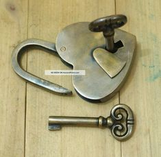 ... With Skeleton Keys Solid Brass Antique Lock Locks & Keys photo 6