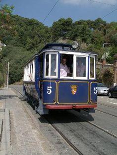 """El Tramvia Blau"" - The old blue tram going half way up Tibidabo hill, Barcelona"