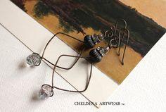 Art Jewelry, Artwear, Swarovski Faceted Crystal, Brass Hammered OX, Abstract, Dangle Earrings, Art Elements, Rhinestones, Cheldena Artwear