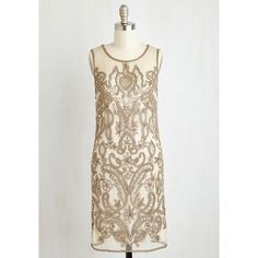 ModCloth 20s Sleeveless Shift Cafe De Flair Dress by ModCloth (€145) ❤ liked on Polyvore featuring dresses, white sequin dress, vintage style white dress, deco dress, shift dress and sleeveless dress