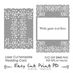 """Roses Lace crochet doily Wedding invitation 5x7"""" Rustic Pattern Card Template (svg dxf dwg ai eps png pdf) laser cut Silhouette Cameo"""