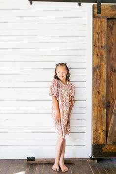 Soft, roomy, scalloped, flowers, and mid-length sleeves makes this the perfect back to school dress! Blush Dresses, Flower Dresses, Sparkle Skirt, Unicorn Dress, Family Picture Outfits, School Dresses, Satin Bows, Baby Size, Girls Dream