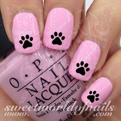 Black Paw Nail Art Nail Water Decals Water Slides 20 water decals on a clear water transfer which can be applied over any color varnish on either your natural or false nail. Use: Paint nails in the Crown Nail Art, Crown Nails, Dog Nail Art, Dog Nails, Baby Nails, Cute Nails, Pretty Nails, Nail Art Designs, Heart Nail Designs