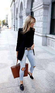 Look Blazer + Bolsa Shopping Mode Outfits, Fall Outfits, Casual Outfits, Fashion Outfits, Womens Fashion, Fashion Trends, Fashion Ideas, Fashion Clothes, Ladies Fashion