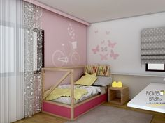 The room will accommodate a 6 year old girl, who chose itself the lilac color on the wall! Combine with accessories gray, white and natural wood color.