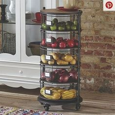 Country Kitchen Decorating Ideas Get creative with how you store some of your kitchen staples. Use metal storage bins to show off fresh produce and colorful linens. It brings an open feel to the space while keeping everything in its own place. Home Decor Kitchen, Interior Design Kitchen, Diy Kitchen, Kitchen Dining, Kitchen Ideas, Kitchen Inspiration, Kitchen Designs, Rustic Kitchen, Kitchen Layout