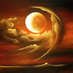 Original abstract art paintings by Osnat - engulfed moon clouds painting