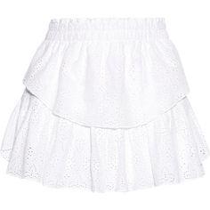 LoveShackFancy Broderie anglaise cotton skirt ($245) ❤ liked on Polyvore featuring skirts, mini skirts, white, white skirt, short tiered skirt, elastic waist skirt, white mini skirt and pull on skirts
