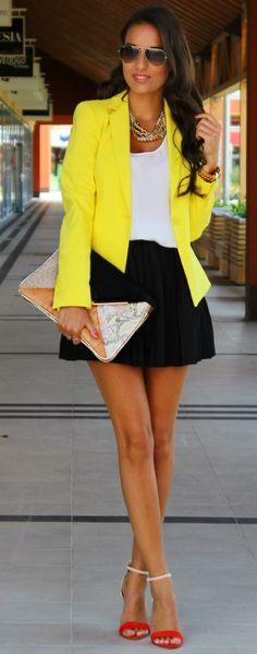 Yellow blazer! Love my bright colors.