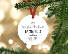 Our first christmas married ornament, Our first Christmas ornament, Personalized christmas gift for couples, first christmas as mr and mrs