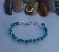 FREE S - Bracelet - Turquoise Wire Wrap - Large - Eye Popper - A Jewelry Artistry Original - BR101