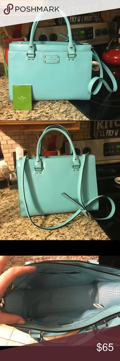 EUC Turquoise Kate Spade leather bag I bought this from my best friend and she never used it. I've used it for 2 months, but it's just not my color and I usually end up leaving it in the car and just carrying my wallet instead. EXCELLENT used condition and still is very rigid as if it was never used. 100% cow hide leather. Light turquoise/sky blue in color. One string on one handle came unbound, but easily could be tucked back in with some patience and super glue, neither of which I have…