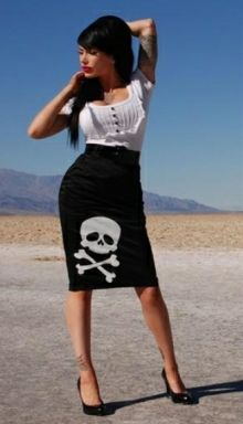 "Rockabilly Pinup ""DEADLY CURVES"" black satin pencil skirt with skull logo."