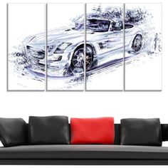 Design Art White Convertible Car, 4 Panels, 48 inch x 28 inch, Size: Oversized 41 inch+