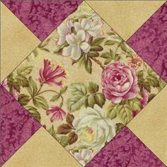 Rose Quilt Block | ... Rose Floral Raspberry Mauve Green Tan Fabric Pre-cut Quilt Block Kit Use animal prints as centers!