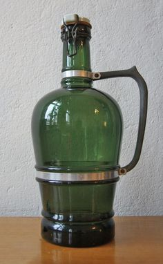 Large German beer growler - green glass