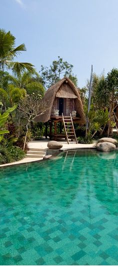 A traditional lumbung, poolside, somewhere in  Bali, Indonesia, http://www.beyondvillas.com
