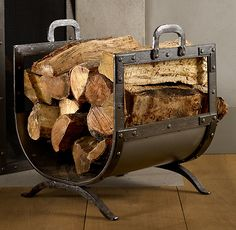 Rivet Hearth Wood Holder from Restoration Hardware. Saved to Lakeside Living. Wood Holder For Fireplace, Fireplace Hearth, Brick Fireplaces, Fireplace Ideas, Firewood Holder, Firewood Storage, Range Buche, Condo Living Room, House Rooms