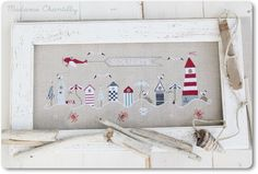 On The Beach cross stitch patterns by Madame Chantilly nautical ocean sand sea crab Summer vacation travel red white and blue embroidery by thecottageneedle Cross Stitch Sea, Cross Stitch Charts, Cross Stitch Designs, Cross Stitch Patterns, Cross Stitching, Cross Stitch Embroidery, Hand Embroidery, Embroidery Patterns, Beach Crafts