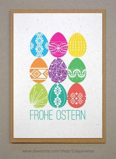Frohe Ostern. Osterkarte. A6 von Coquevama auf DaWanda.com