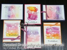 Detailed Dragonfly thinlit cards featuring the watercolor pencil background technique, from the Stampin' Up! 2017 Occasions catalog. Cards by Cindee, Lisa and Patty