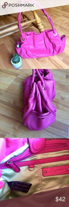 "Bubblegum pink b. makowski leather bag Pretty soft leather, bag is like new! Gold interior, 2 side pockets, magnet closure, braided strap with a 9 1/4"" drop. 7 x 8.5 x 3"", b. makowsky Bags Satchels"