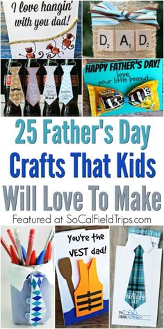 Are you looking for a homemade present for Father's Day that kids can make? Make one of these 25 Father's Day Crafts for Kids! Perfect for preschoolers and elementary school children to make for their dads, grandfathers and uncles. Diy Father's Day Gifts Easy, Father's Day Diy, Fathers Day Art, Happy Fathers Day, Preschool Fathers Day Gifts, Fathers Love, Crafts For Kids To Make, Gifts For Kids, Dad Crafts