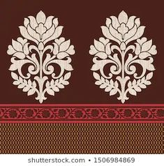 Find Seamless Damask Traditional Indian Motif stock images in HD and millions of other royalty-free stock photos, illustrations and vectors in the Shutterstock collection. Thousands of new, high-quality pictures added every day. Folk Embroidery, Hand Embroidery Designs, Indian Embroidery, Embroidery Stitches, Floral Border, Floral Motif, Motif Design, Textile Design, Computer Embroidery Machine