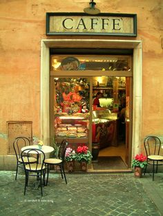 This caffe is right below my second floor apartment in Rome, Italy.  The Trevi Fountain is opposite.