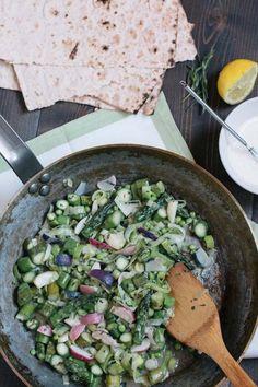 Easy Sautéed Spring Vegetable Recipe • theVintageMixer.com