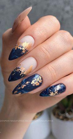 Stylish Nails, Trendy Nails, Blue Acrylic Nails, Dark Blue Nails, Dark Nail Art, Gold Nail Art, Blue Nails Art, Red And Gold Nails, Maroon Nails