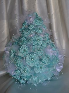 Wedding Bouquet Cascading Satin Light Baby Blue accessory with pearls, cascade bouquet