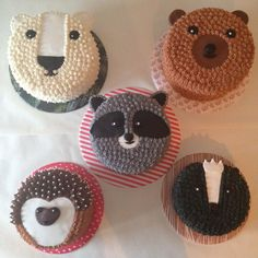 polar bear, raccoon, brown bear, hedgehog and skunk hibernators cakes