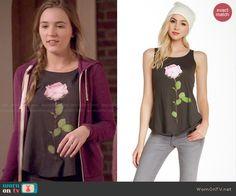 Maddie's black rose print top on Nashville.  Outfit Details: http://wornontv.net/47523/ #Nashville