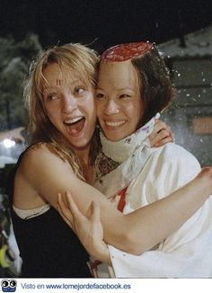 Uma Thurman and Lucy Liu behind the scenes of Kill Bill Vol. 1.